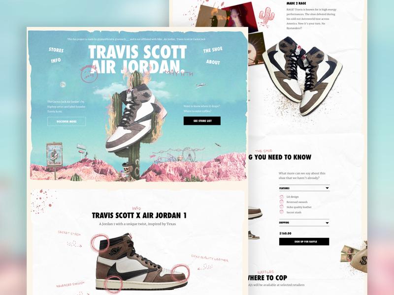 """Travis Scott x Air Jordan 1 """"Cactus Jack"""" website design 🌵🔥 hiphop kanye west shoe nike shop ecommerce webshop landing page productpage product sneaker travis scott design landing kanye fashion ux website ui webdesign"""