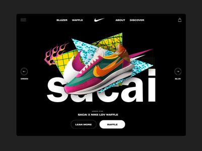 Nike x Sacai - Landing page concept 80s style 80s shapes brutalism ui ux shop ecommence ecommerce design texture art direction collage landing page productpage webshop sneaker ecommerce nike landing webdesign
