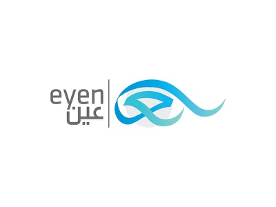 Eyen Logo agency marketing media icon eyen eye blue logo social typography arabic