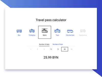 Minsktrans — Travel pass calculator transport bus trolleybus underground metro tram train calculator