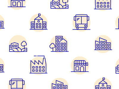 City icons countryside restaurant bus cityhall factory house gold blue cute city icon