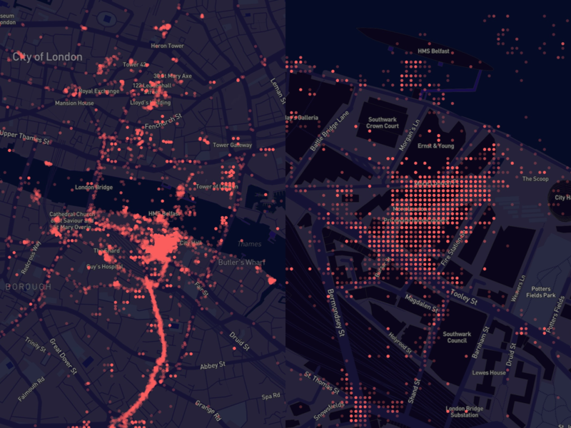 First data visualization using Mapbox! dots grid beautiful data map data london dark blue data map data visualization mapbox