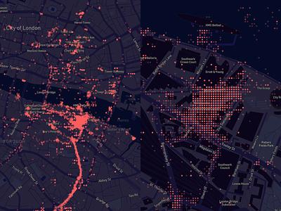 First data visualization using Mapbox! dots grid beautiful data map data london dark blue data map data visualization mapbox
