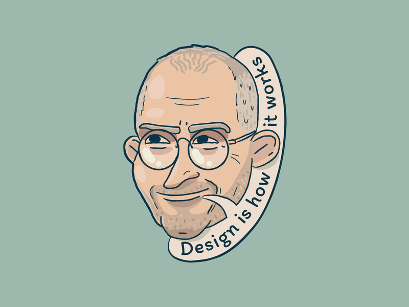 Steve Jobs charm sticker portrait apple steve jobs jobs quote design