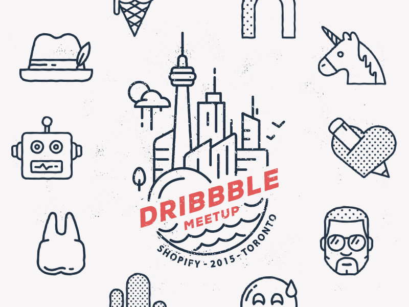 Official Dribbble Meetup - Apr 9 (Toronto) illustration dribbble flat icon icons dribbble meetup invite toronto unicorn robots hat heart city