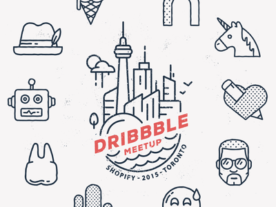 Official Dribbble Meetup - Apr 9 (Toronto) illustration dribbble flat icon icons dribbble meetup invite toronto unicorn robots hat heart city