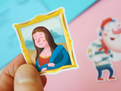 Do you recognize her? france mono lisa smile stickers illustrations frame kids character paris art louvre