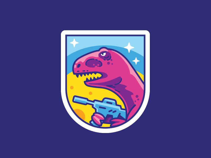 Reptilians attack trooper patch alien space mars attack badge pink dino reptilian