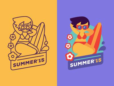 Summer contest surfing surf pin up girl beach summer sicker mule playoff sticker
