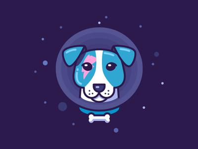 Laika Stardog star hero science animal astro blue portrait dog space laika