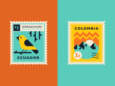 Summer trip summer travel trip mountain bird ecuador colombia south america postage stamp postal stamps