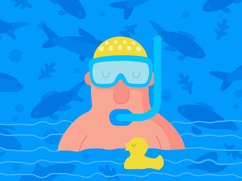 Aqua character aqua swim diving pattern rubber yellow duck blue sea diver