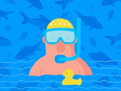 Aqua character aqua swim diving pattern rubber yellow duck blue sea diver