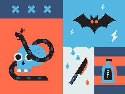 Trick or treat blue red blood snake bottle poison knife bat skull flag horror halloween