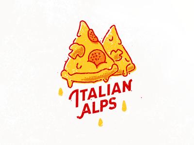 Italian Alps mountain slice italy food t-shirt logo pizza mountains