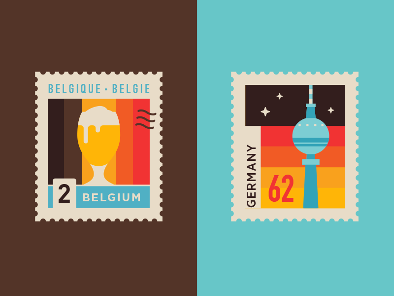 Winter trip brussels berlin beer belgium germany city post mail stamp