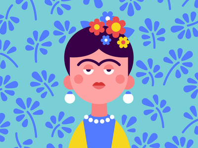 Frida mexico character blue yellow flowers woman artist frida