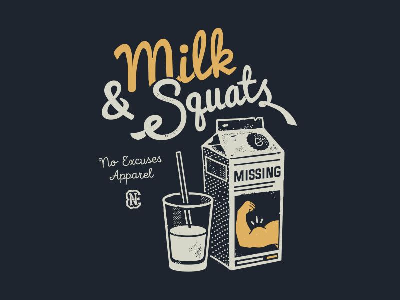 Milk sport no excuses fitness workout gym squats milk print t-shirt
