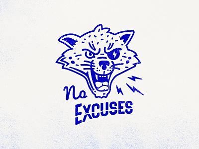No Excuses Cat animal face vintage no excuses jaguar print workout gym cat logo t-shirt