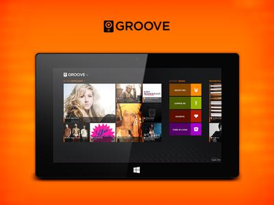 Groove Windows 8 app metro windows 8 music player orange app ui hub
