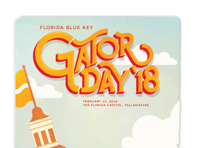 Gator Day poster detail halftone illustration lettering custom type typography type poster