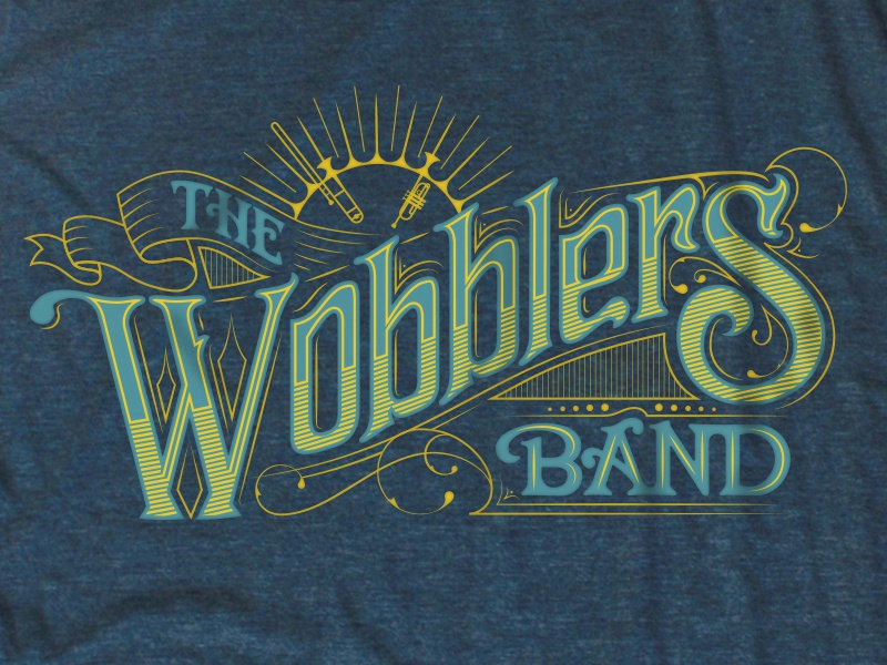 Wobblers tee shirt art nouveau nouveau filigree custom type hand lettering type design type lettering screenprint apparel t-shirt tee