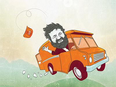 Draplin (alternative) poster detail orange van truck light texture poster illustration cartoon ddc draplin illustrator