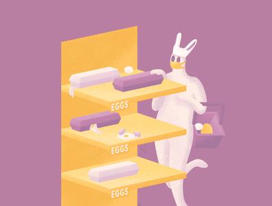 Adult Egg Hunt vector illustration vector illustration supermarket grocery bunny sold out egg egg hunt easter egg hunt easter egg easter bunny easter panic buy hoarder hoarding virus covid19 epidemic coronavirus