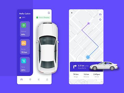 Electric Car Monitoring App ios dashboard map flatdesign purple clean mobile car design interface app