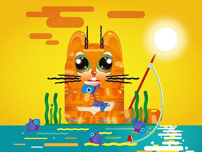 Cat fishing 2019 adobe illustrator vector illustration design art