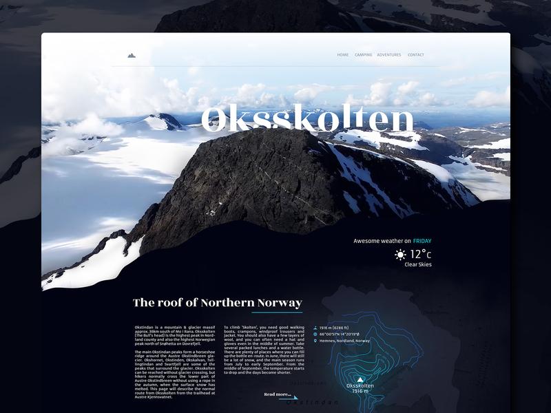 Oksskolten Landing Page article maps oksskolten web landing page grid norway mountains typography photoshop digitaldesign ux ui
