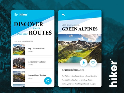 Hiker App [Discover places] concept hiking ui design app design app concept adobe xd photoshop mountains branding ux ui