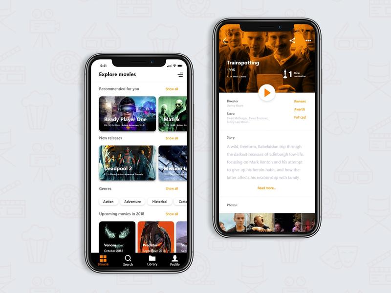 Movies App photoshop adobe xd user experience digital design concept movies app app design ui design ux ui