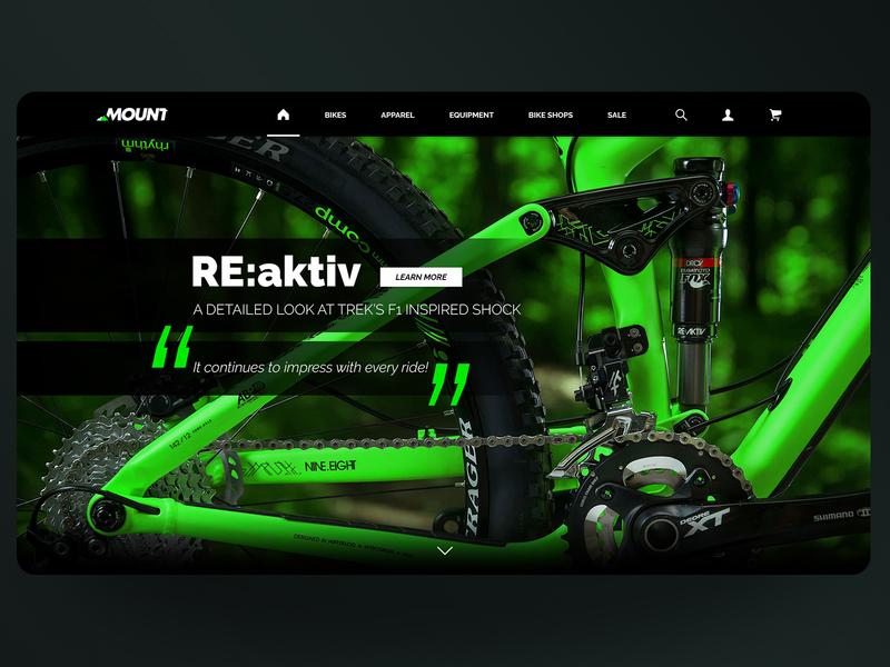 Mount Bikes branding logo design trek photoshop webdesign web mountains bike landing page header ui