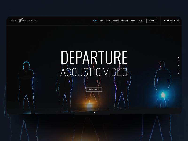 Pale Origins - Band website photography one page design landing page blue dark metal rock band music ux ui web design
