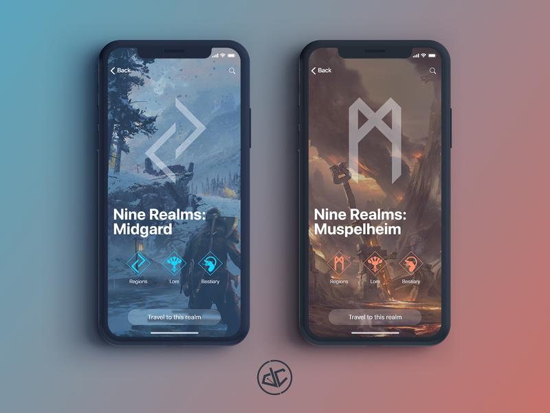 God of War: Nine Realms | App Concept red blue adobe xd web concept app icons ps4 playstation god of war ux  ui ios uidesign ux ui