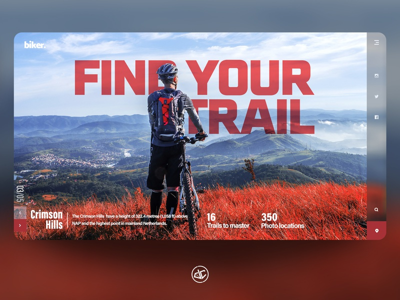 Find Your Trail slider bike hiking typography photoshop web web design concept mountains landing page ux ui