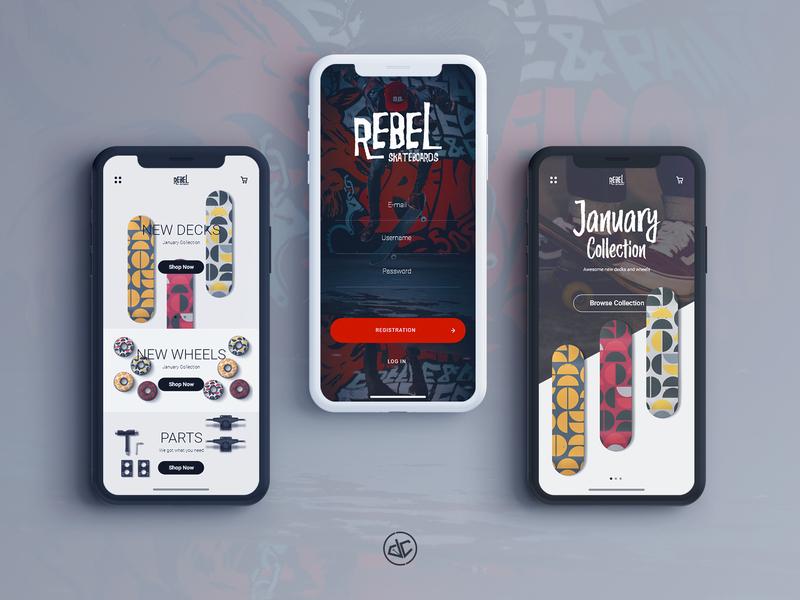 Rebel Skateboards - App Concept concept branding ecommerce digital design logo app ecommerce app webshop shop skateboard skate mobile ux ui