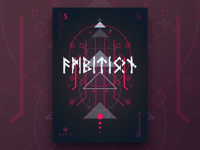 Runic™ - Inscription 5 | Poster Design illustration challenge poster a day geometric shapes gradient userinterface ui runes text typography digital art digital poster art poster print graphic design vector art vector illustration poster challenge