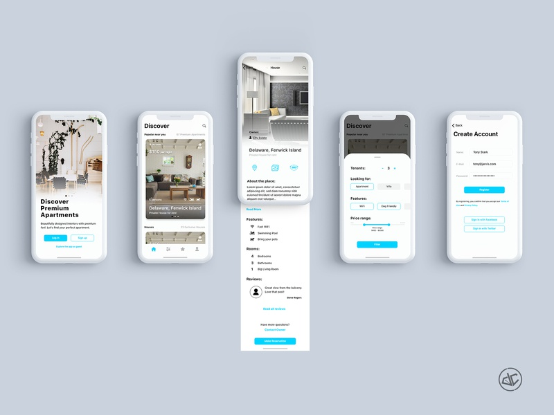 Premium Apartments - App Concept adobe xd branding photoshop exploration feed app concept rental app user experience digital design user interface ios app design ios apartments ux ui app  design app