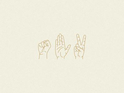 Rock Paper Scissors hands restaurant dallas branding design illustration