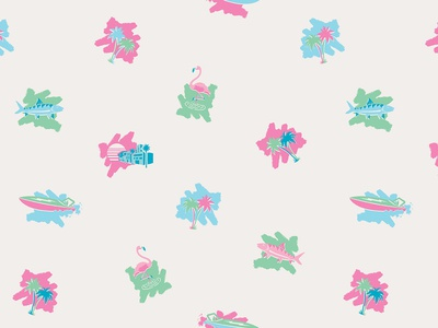 ¡Bienvenidos! howler bros icon 80s bonefish boat palms flamingos miami vice miami howler brothers apparel pattern design illustration
