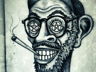 Paddy joint character glasses sketch pencil drawing pentagram weed biff