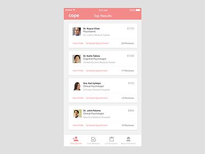 Cope, a mental health platform doctors mental health mobile ui ios