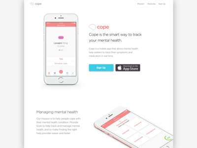 Cope, landing page app landing page mental health app cope