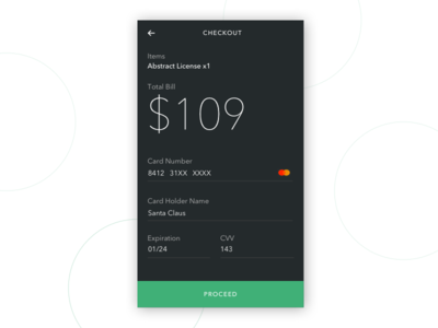 Daily UI 002 - Credit Card Checkout dark theme checkout credit card daily ui