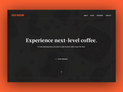 Daily UI 003 - Landing Page bootcamp modern simple clean minimalist contrast dark theme brewing landing page coffee daily ui
