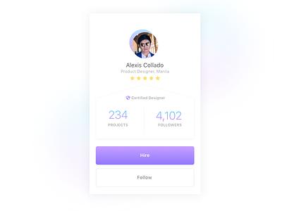 Daily UI 006 - Profile concept ios card profile daily ui