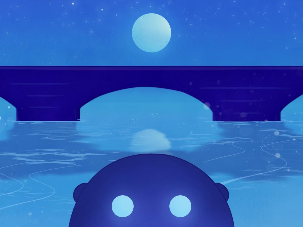 Blue moon illustration
