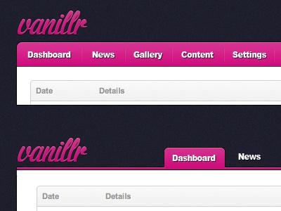 Vanillr Admin pink blue admin logo navigation pixel noise background